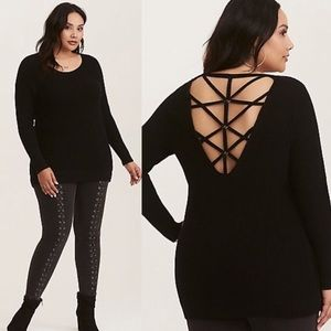 Torrid grommet cage back sweater 2x